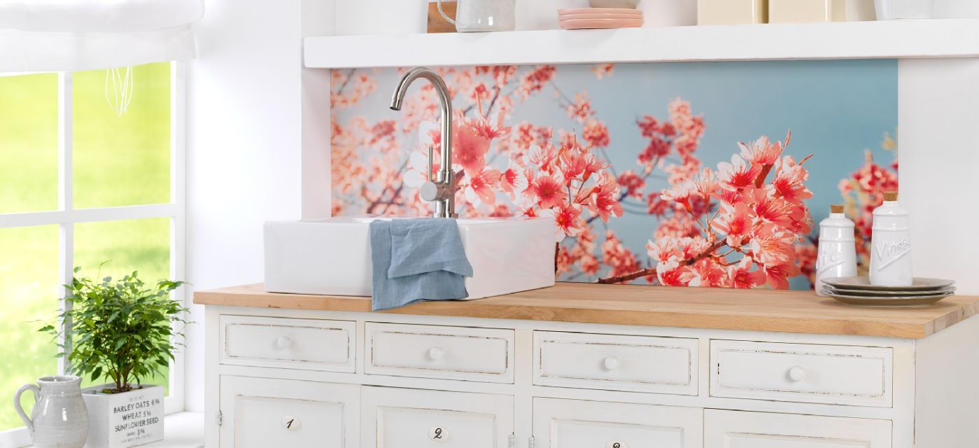 made to measure acrylic photo print as wall back splash