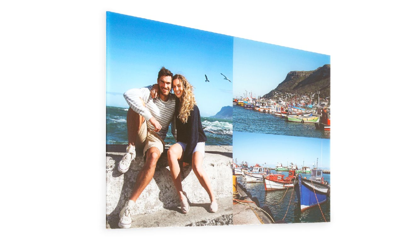 Photo collage printed on large acrylic glass